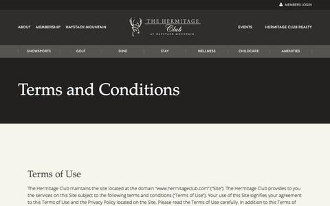 Screenshot of Terms Page hermitageclub.com - Terms and Conditions » The Hermitage Club - captured Feb. 19, 2018