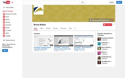 Screenshot of YouTube Page youtube.com - Bruce Bolton  - YouTube - captured Oct. 22, 2014
