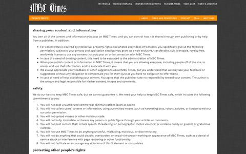 Screenshot of Privacy Page mbctimes.com - Privacy policy — MBC Times - captured Jan. 29, 2016