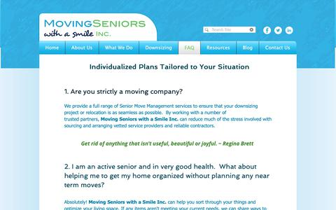 Screenshot of FAQ Page movingseniorswithasmile.ca - Moving Seniors with a Smile Inc. Frequently Asked Questions. Relocate - captured Oct. 20, 2018