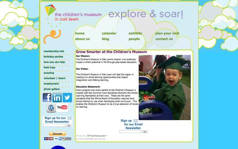 Screenshot of About Page cmoaklawn.org - Grow Smarter at the Children's Museum - captured Oct. 2, 2014