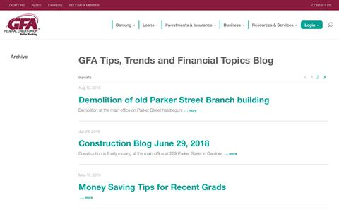 Screenshot of Blog gfafcu.com - Banking Blog | GFA Tips, Trends, and Financial Topics Blog - captured Sept. 25, 2018