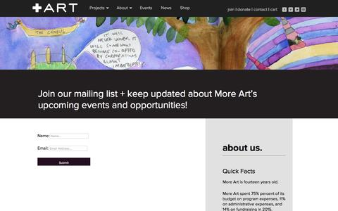 Screenshot of Signup Page moreart.org - Join Our Mailing List  |  More Art - captured Sept. 20, 2018