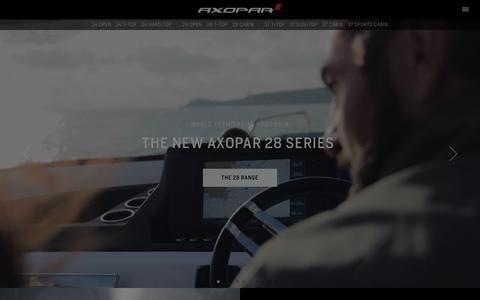 Screenshot of Home Page axopar.fi - Premium range motorboats from Finland » Axopar Boats - captured Sept. 22, 2018