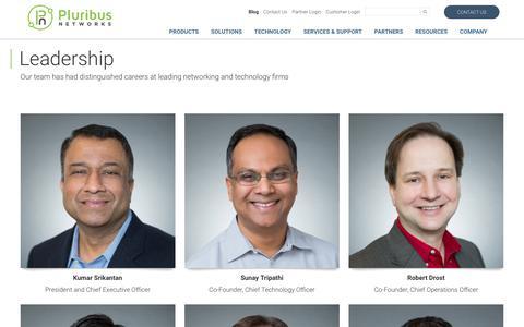Screenshot of Team Page pluribusnetworks.com - Leadership - Pluribus Networks - captured Jan. 22, 2018