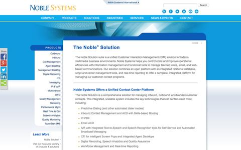 Screenshot of Products Page noblesys.com - Noble Systems - Products - captured Aug. 17, 2016