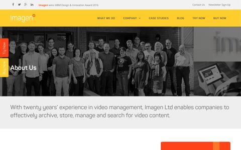 Screenshot of About Page imagenevp.com - About Imagen | Video Management Solutions - captured Oct. 19, 2016