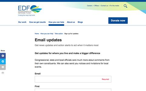 Screenshot of Signup Page edf.org - Email updates | Environmental Defense Fund - captured Dec. 17, 2017