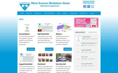 Screenshot of Press Page wsms.org.uk - West Sussex Mediation News - captured Oct. 20, 2018