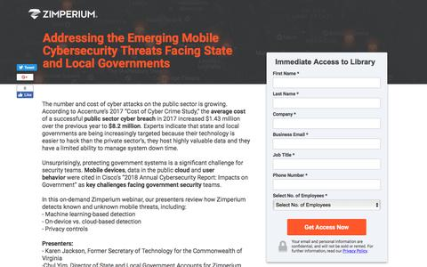 Screenshot of Landing Page zimperium.com - Addressing the Emerging Mobile Cybersecurity Threats Facing State and Local Governments - captured Sept. 19, 2018