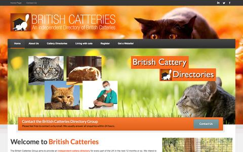 Screenshot of Home Page britishcatteries.co.uk - British Catteries - Independent Cattery Directory Websites - captured Oct. 5, 2014