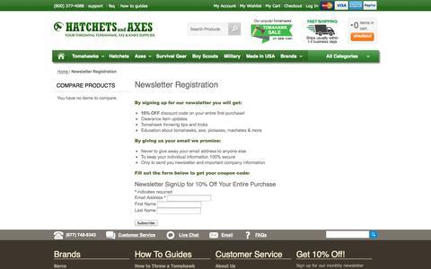 Screenshot of Signup Page hatchetsandaxes.com - Newsletter Registration - captured Oct. 2, 2014