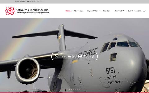 Screenshot of Home Page astro-tek.io - The Aerospace Manufacturing Specialists - captured Sept. 13, 2015