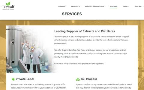 Screenshot of Services Page teawolf.com - Teawolf | Services - Natural Extract Solutions - captured Aug. 18, 2016