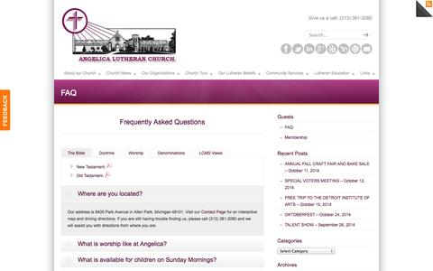 Screenshot of FAQ Page angelicalutheranchurch.org - FAQ - Angelica Lutheran Church - captured Sept. 30, 2014