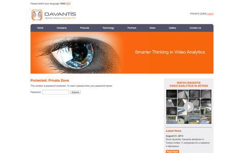 Screenshot of Login Page davantis.com - Private Zone | Davantis Technologies EN - captured Oct. 5, 2014