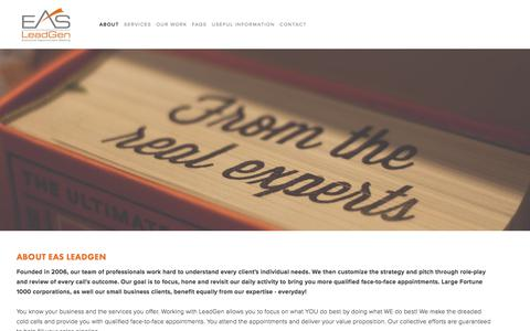 Screenshot of About Page easleadgen.com - About EAS LeadGen — EAS LeadGen - captured Sept. 25, 2018