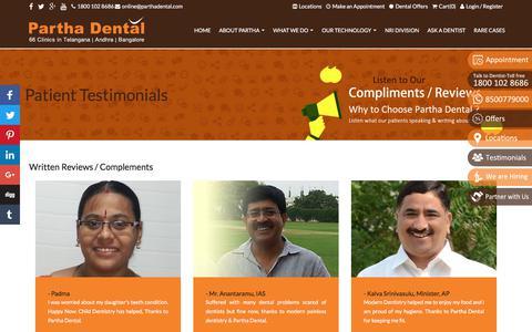 Screenshot of Testimonials Page parthadental.com - Patient Testimonials, Partha Dental Patient Reviews, Partha Dental Clinic Testimonials, genuine testimonials - captured July 14, 2017