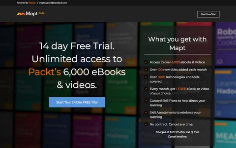 Screenshot of Trial Page packtpub.com - 14 Day Free Trial - Unlimited access to eBooks and Videos | Mapt - captured Aug. 8, 2018