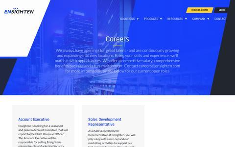 Screenshot of Jobs Page ensighten.com - Careers - Ensighten - captured Aug. 28, 2019