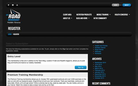 Screenshot of Signup Page myroadworkout.com - Register   My Road WorkoutMy Road Workout - captured Oct. 9, 2014