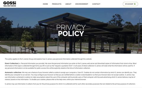 Screenshot of Privacy Page gossi.com.au - Privacy Policy | Gossi Park & Street Furniture - captured Sept. 5, 2017