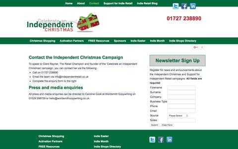 Screenshot of Contact Page indiechristmas.co.uk - Contact the Independent Christmas Campaign - captured March 23, 2016