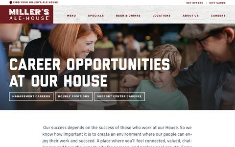Screenshot of Jobs Page millersalehouse.com - Miller's Ale House » Careers - captured June 26, 2017
