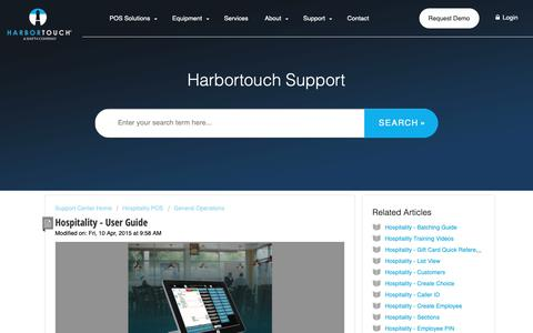 Screenshot of Support Page harbortouch.com - Hospitality - User Guide : Harbortouch Support Center - captured Oct. 9, 2018