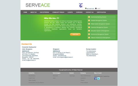 Screenshot of Contact Page Locations Page serveace.in - ServeAce Pvt Ltd. - captured Oct. 24, 2014