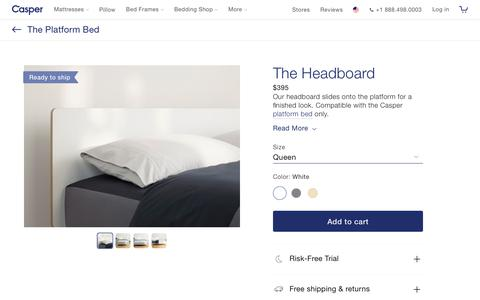 Screenshot of Pricing Page casper.com - The Headboard | Casper® | Choose between 3 beautiful color finishes | Casper® - captured Nov. 17, 2018