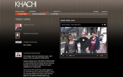 Screenshot of Press Page khachi.com - Video Links  -  Khachi Design Group - captured Oct. 6, 2014