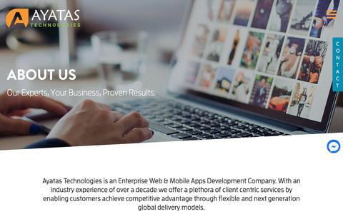 Screenshot of About Page ayatas.com - About Us - Ayatas Technologies - captured Aug. 7, 2018