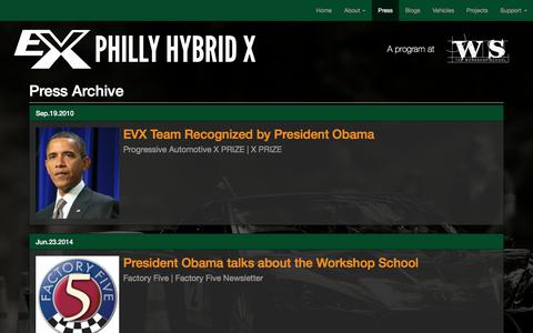 Screenshot of Press Page evxteam.org - Press Archive - captured July 6, 2017