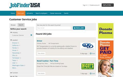 Screenshot of Support Page jobfinderusa.com - Customer Service jobs - captured June 8, 2017