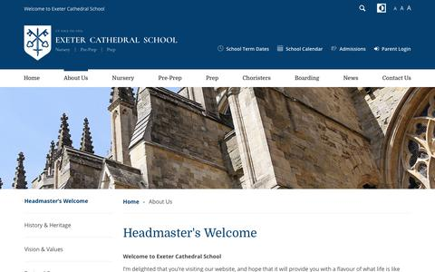 Screenshot of About Page exetercathedralschool.co.uk - About Us - Exeter Cathedral School : Exeter Cathedral School - captured June 29, 2018