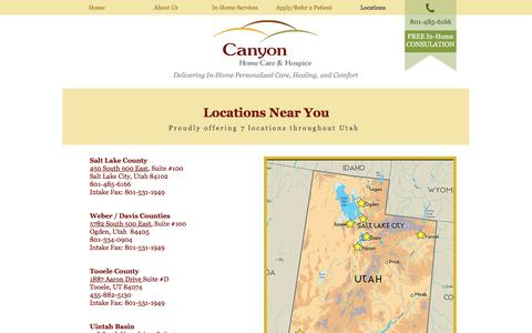 Screenshot of Contact Page Locations Page canyonhomecare.com - Cayon Home Care | Contact Us - captured Oct. 20, 2016
