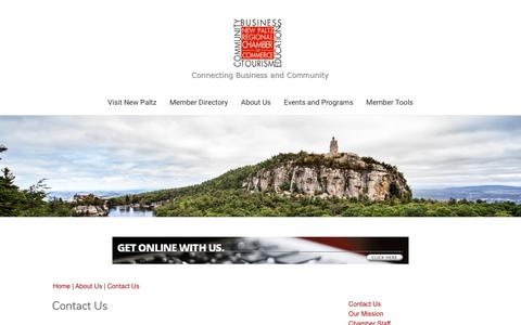 Screenshot of Contact Page newpaltzchamber.org - Contact Us | New Paltz Regional Chamber of Commerce | New Paltz, NY - captured Oct. 1, 2018