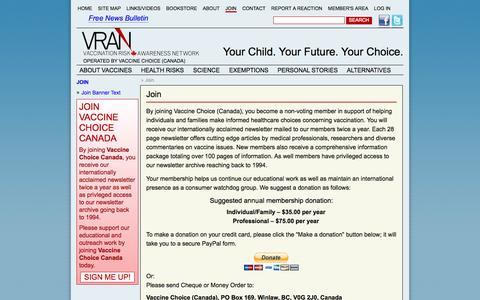 Screenshot of Signup Page vran.org - Join - Vaccination Risk Awareness Network - captured Nov. 3, 2014