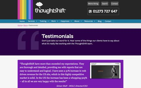 Screenshot of Testimonials Page thoughtshift.co.uk - Digital Marketing Testimonials & Reviews for ThoughtShift - captured Jan. 17, 2016