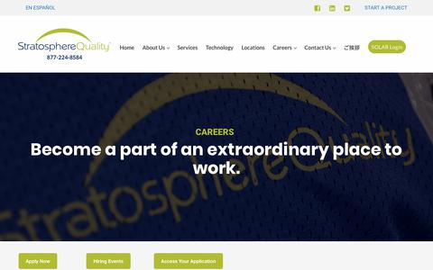 Screenshot of Jobs Page stratospherequality.com - Careers – Stratosphere Quality - captured Jan. 12, 2018