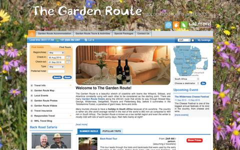Screenshot of Home Page garden-route-tours.travel - Garden Route Hotels Accommodation - Garden Route Tours - Book Online at discounted rates with garden-route-tours.travel - captured Aug. 29, 2015