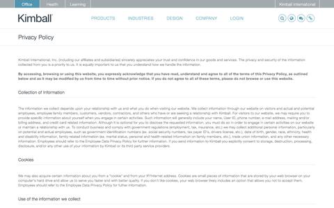 Screenshot of Privacy Page kimball.com - Privacy Policy - Kimball - captured Sept. 6, 2017