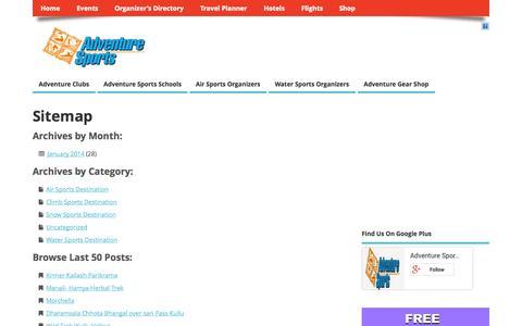 Screenshot of Site Map Page adventuresport.in - Adventure Sports India :: Online Adventure Directory - captured Oct. 4, 2014