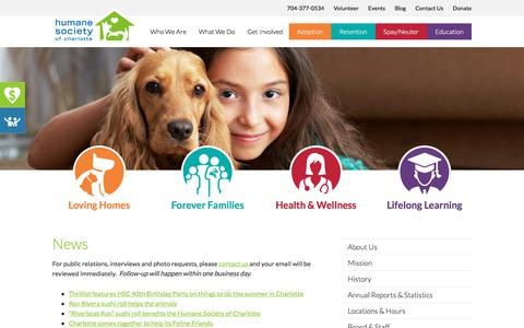 Screenshot of Press Page humanesocietyofcharlotte.org - News: Press Releases and PR Contact   Humane Society Charlotte - captured July 23, 2018
