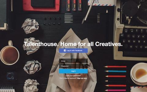 Screenshot of Login Page talenthouse.com - Talenthouse - captured Feb. 19, 2016