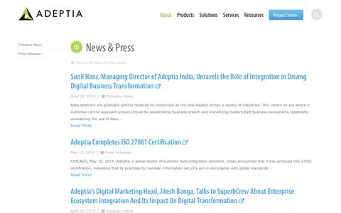 Screenshot of Press Page adeptia.com - Learn More About the News and Press on Adeptia - captured July 19, 2019
