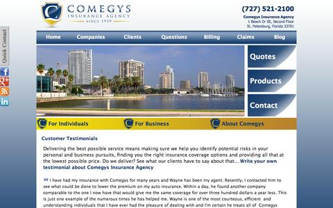 Screenshot of Testimonials Page comegys.com - Comegys Insurance Agency's Customer Testimonials | Comegys Insurance Agency | St. Petersburg, Florida 33701 - captured Oct. 2, 2014