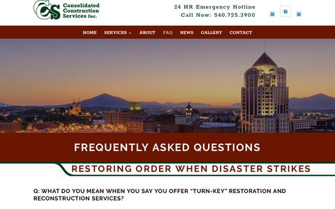 Screenshot of FAQ Page ccsroa.com - FAQ | Consolidated Construction Services - captured Sept. 29, 2018