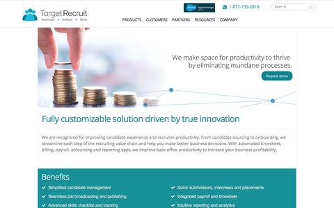 Screenshot of Products Page targetrecruit.net - Applicant Tracking System | TargetRecruit - captured June 19, 2018
